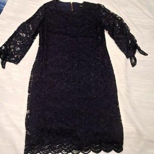 LIZ CLAIBORNE Navy Blue Lined Lace Sheath Dress